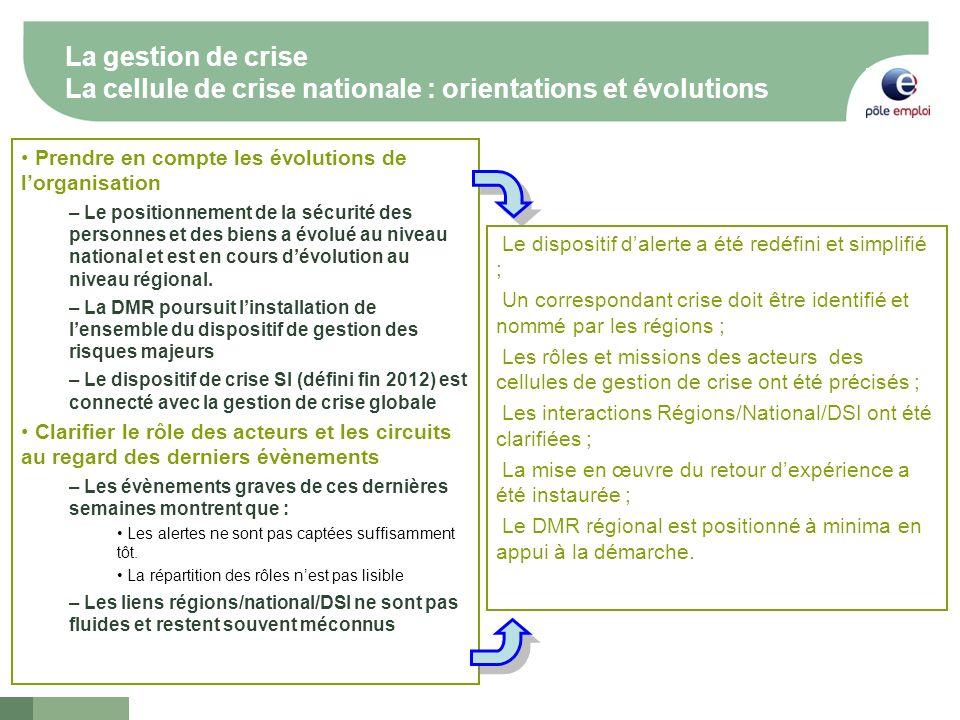 4 La gestion de crise La cellule de crise nationale : orientations et évolutions Prendre en compte les évolutions de lorganisation – Le positionnement