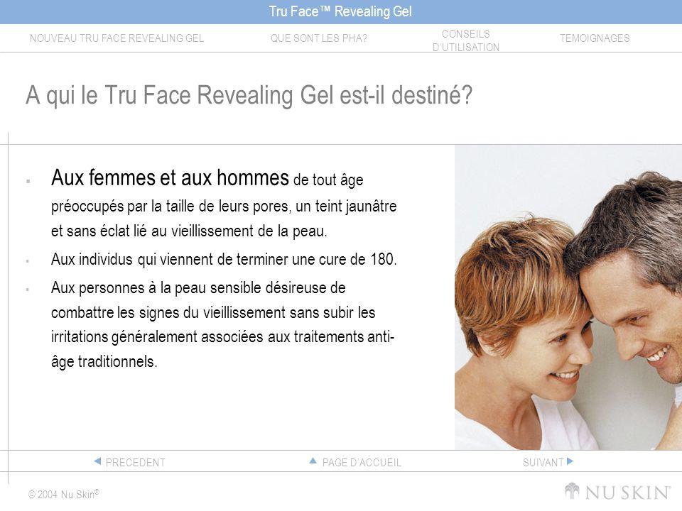 Tru Face Revealing Gel NOUVEAU TRU FACE REVEALING GELQUE SONT LES PHA? CONSEILS DUTILISATION TEMOIGNAGES © 2004 Nu Skin ® PAGE DACCUEILPRECEDENTSUIVAN