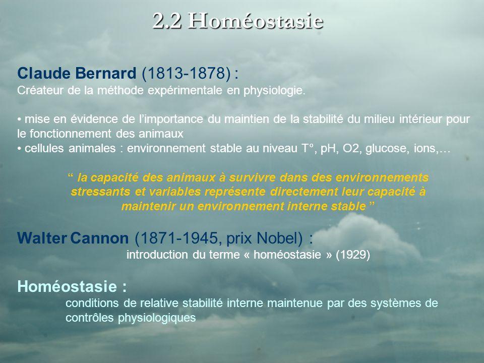 2.2 Homéostasie Claude Bernard (1813-1878) : Créateur de la méthode expérimentale en physiologie. mise en évidence de limportance du maintien de la st