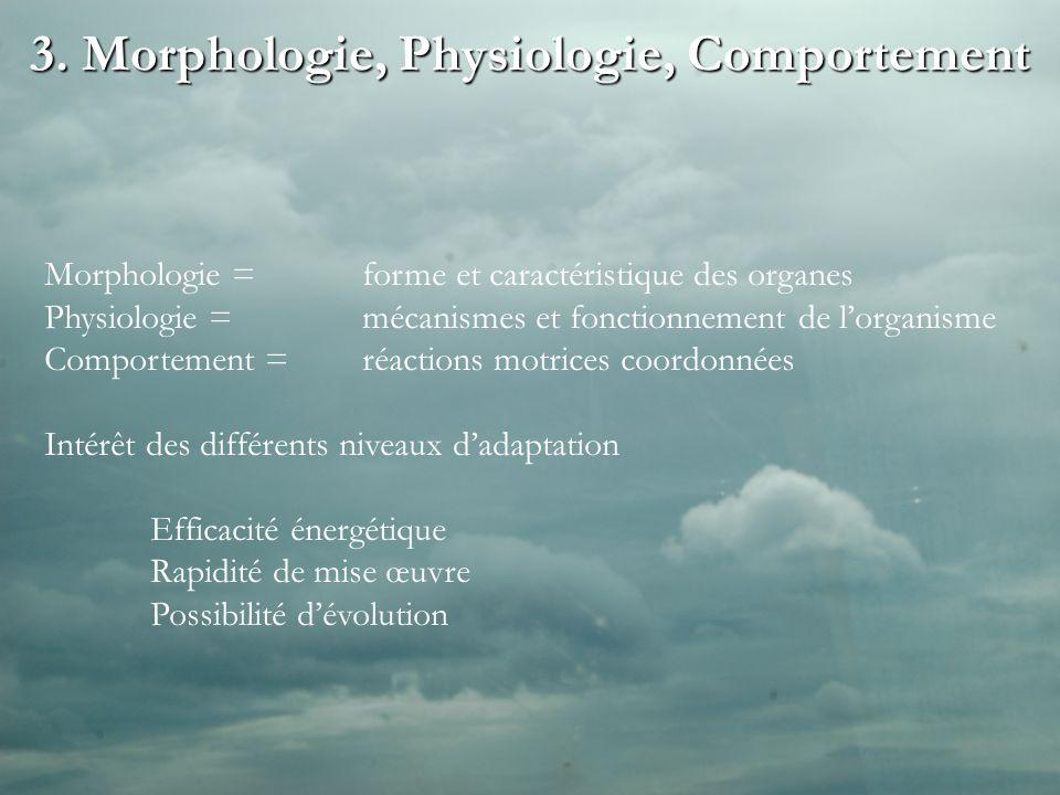 3. Morphologie, Physiologie, Comportement Morphologie = forme et caractéristique des organes Physiologie = mécanismes et fonctionnement de lorganisme
