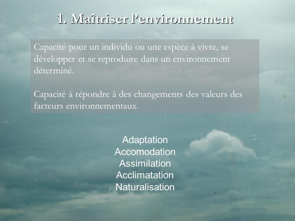 1. Maîtriser lenvironnement Adaptation Accomodation Assimilation Acclimatation Naturalisation Capacité pour un individu ou une espèce à vivre, se déve