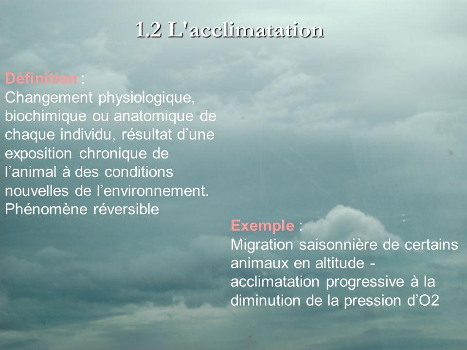 1.2 L acclimatation Définition : Changement physiologique, biochimique ou anatomique de chaque individu, résultat dune exposition chronique de lanimal à des conditions nouvelles de lenvironnement.