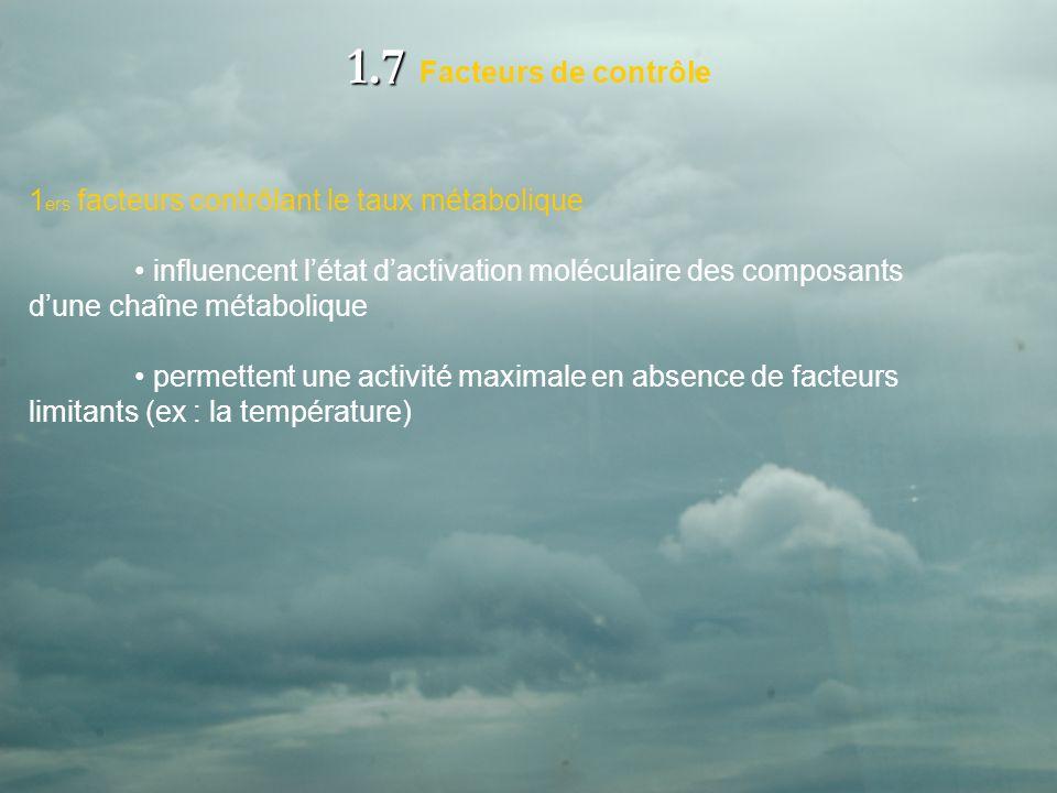 1.7 1.7 Facteurs de contrôle 1 ers facteurs contrôlant le taux métabolique influencent létat dactivation moléculaire des composants dune chaîne métabolique permettent une activité maximale en absence de facteurs limitants (ex : la température)