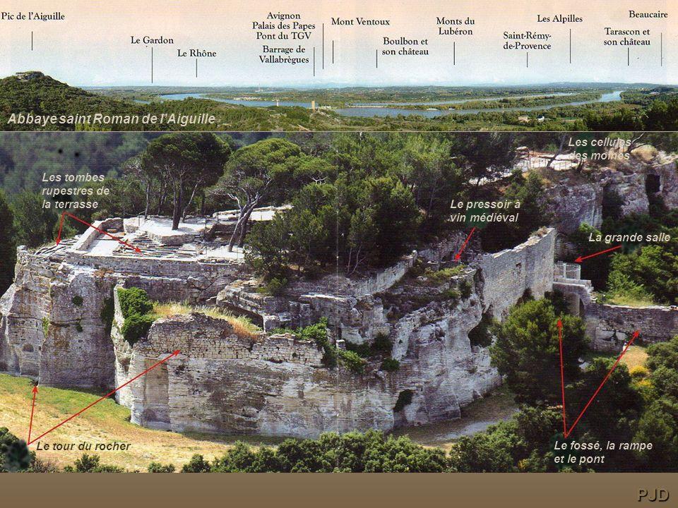 Le fossé, la rampe et le pont La grande salle Le pressoir à vin médiéval Les cellules des moines Les tombes rupestres de la terrasse Le tour du rocher Abbaye saint Roman de lAiguille PJD