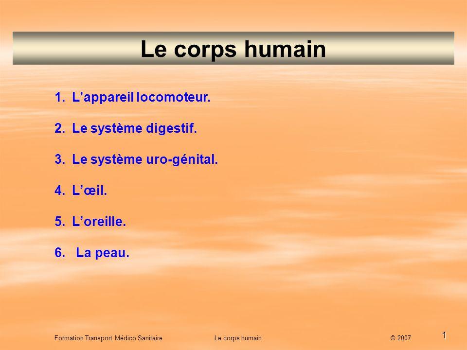 1 Le corps humain 1.Lappareil locomoteur. 2.Le système digestif. 3.Le système uro-génital. 4.Lœil. 5.Loreille. 6. La peau. Formation Transport Médico