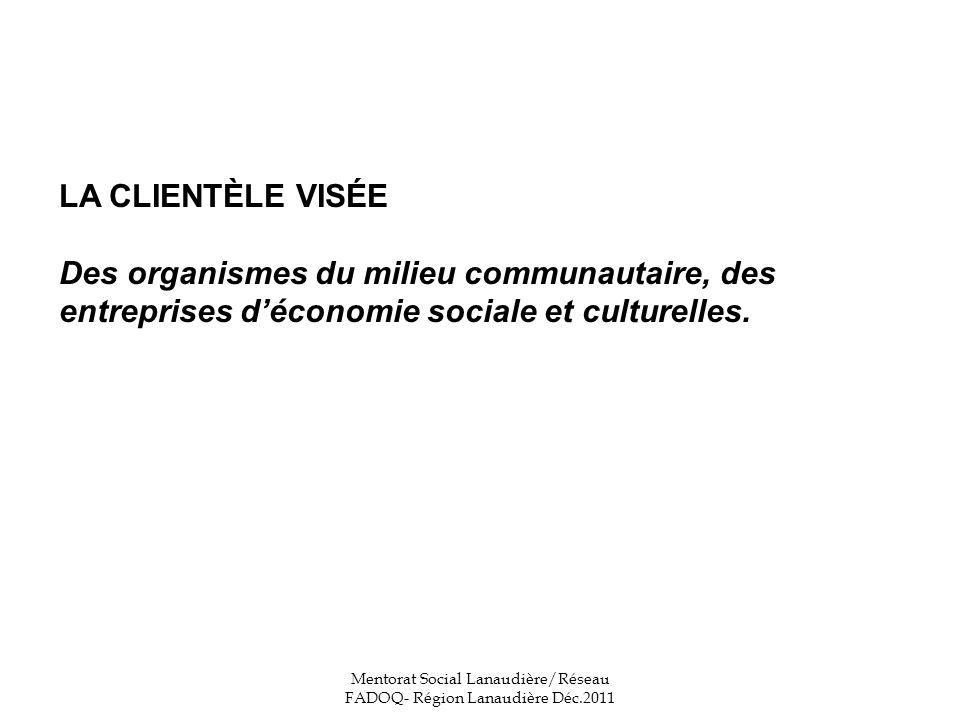 LA CLIENTÈLE VISÉE Des organismes du milieu communautaire, des entreprises déconomie sociale et culturelles.