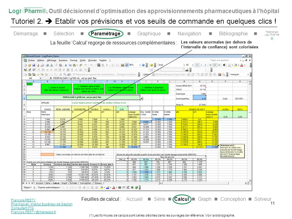 LogiPharm®, Outil décisionnel doptimisation des approvisionnements pharmaceutiques à lhôpital Tutoriel 2. Etablir vos prévisions et vos seuils de comm