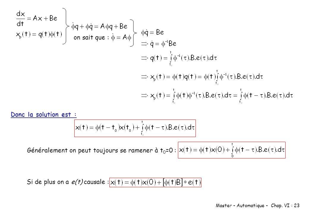 Master - Automatique - Chap. VI : 23 on sait que : Donc la solution est : Généralement on peut toujours se ramener à t 0 =0 : Si de plus on a e(t) cau
