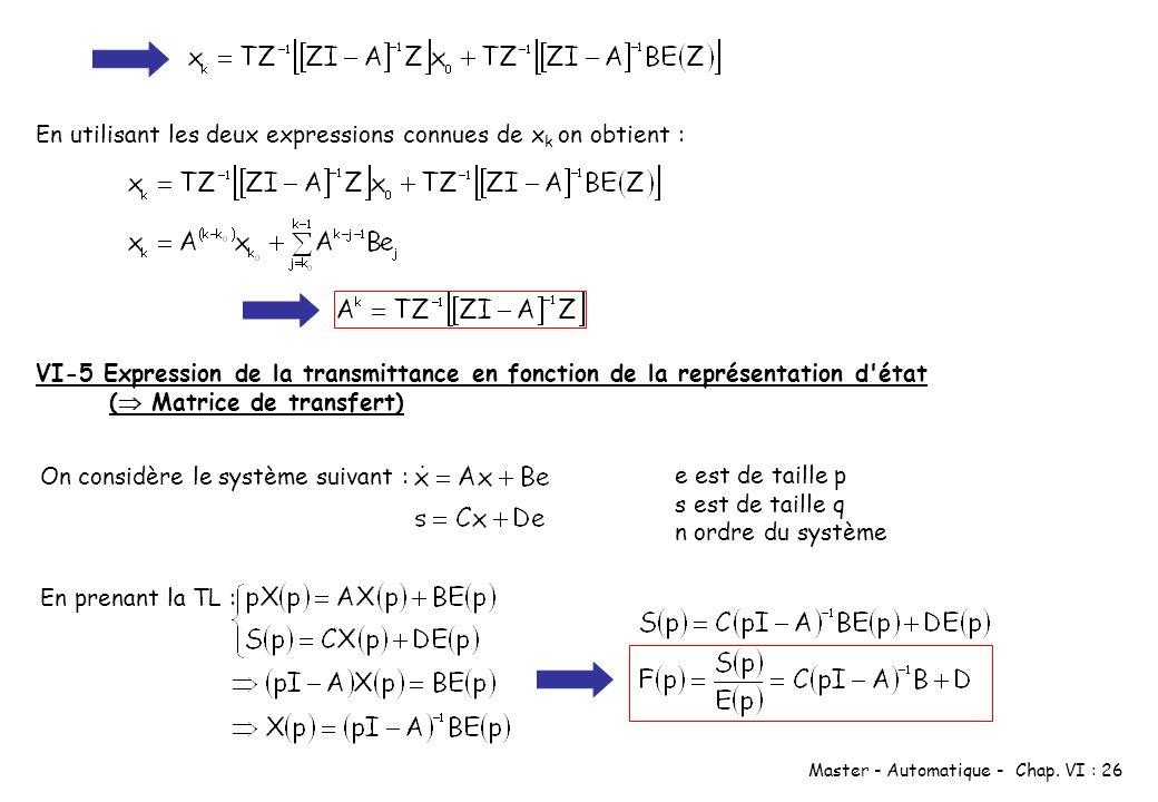 Master - Automatique - Chap. VI : 26 En utilisant les deux expressions connues de x k on obtient : VI-5 Expression de la transmittance en fonction de