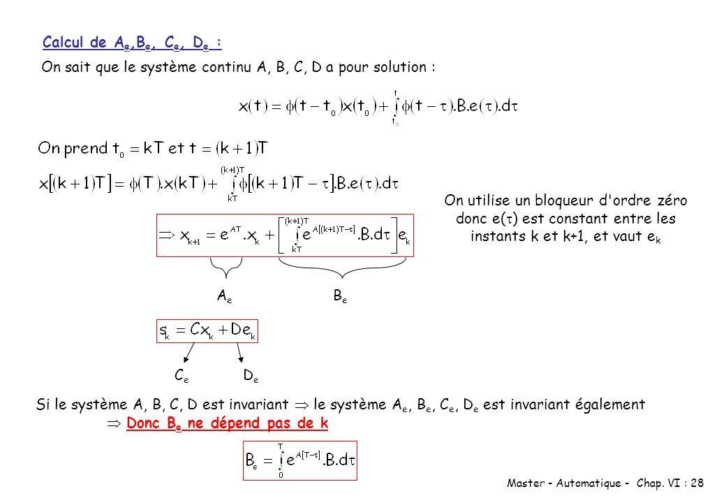 Master - Automatique - Chap. VI : 28 Calcul de A e,B e, C e, D e : On sait que le système continu A, B, C, D a pour solution : BeBe AeAe On utilise un