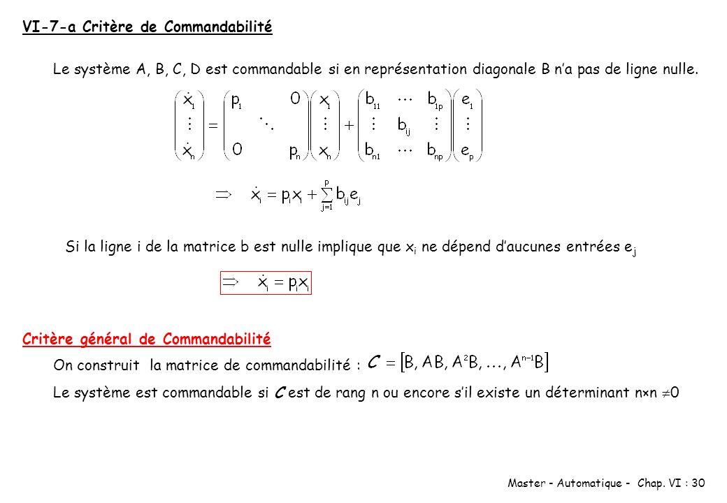 Master - Automatique - Chap. VI : 30 VI-7-a Critère de Commandabilité Le système A, B, C, D est commandable si en représentation diagonale B na pas de