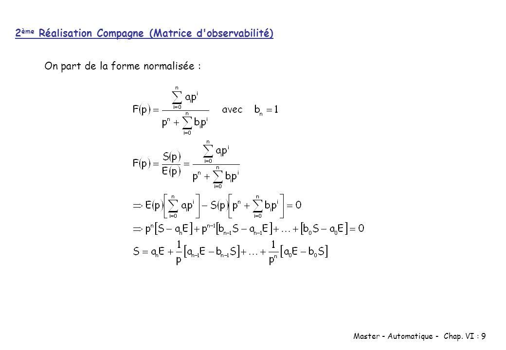 Master - Automatique - Chap. VI : 9 On part de la forme normalisée : 2 ème Réalisation Compagne (Matrice d'observabilité)