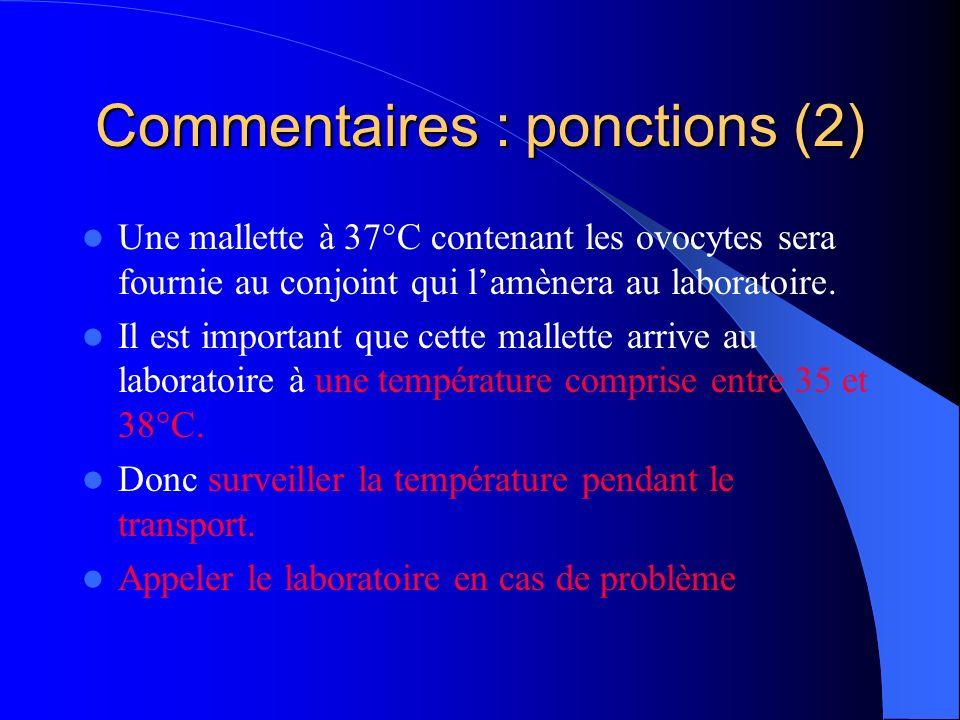 Commentaires : ponctions (2) Une mallette à 37°C contenant les ovocytes sera fournie au conjoint qui lamènera au laboratoire. Il est important que cet