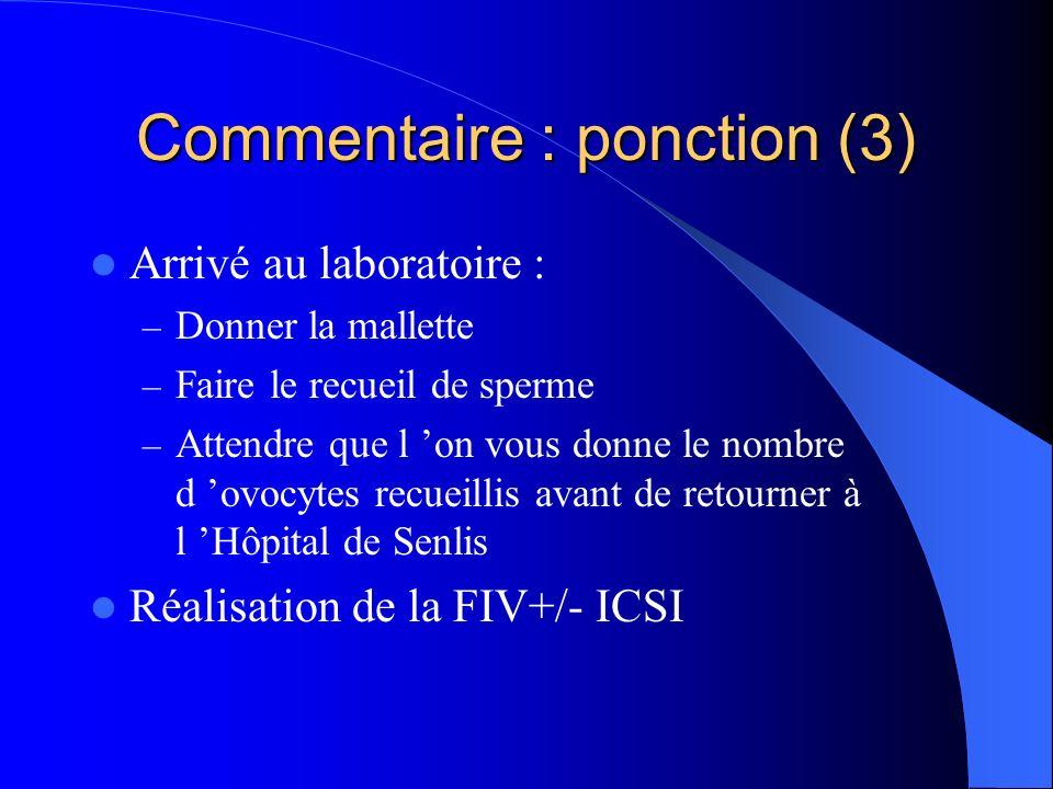 Commentaire : ponction (3) Arrivé au laboratoire : – Donner la mallette – Faire le recueil de sperme – Attendre que l on vous donne le nombre d ovocytes recueillis avant de retourner à l Hôpital de Senlis Réalisation de la FIV+/- ICSI