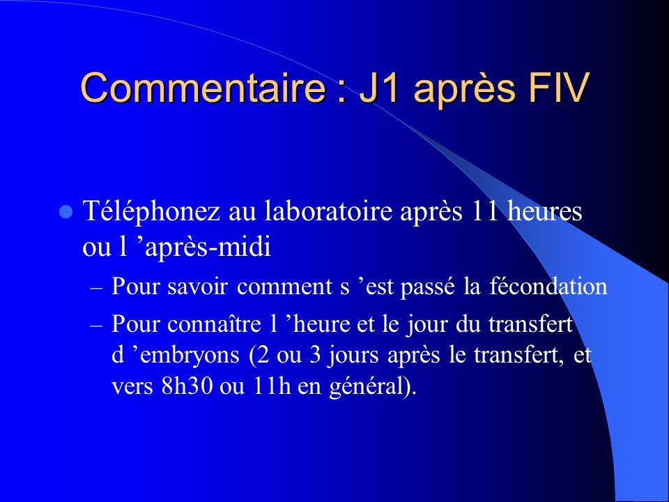 Commentaire : J1 après FIV Téléphonez au laboratoire après 11 heures ou l après-midi – Pour savoir comment s est passé la fécondation – Pour connaître l heure et le jour du transfert d embryons (2 ou 3 jours après le transfert, et vers 8h30 ou 11h en général).