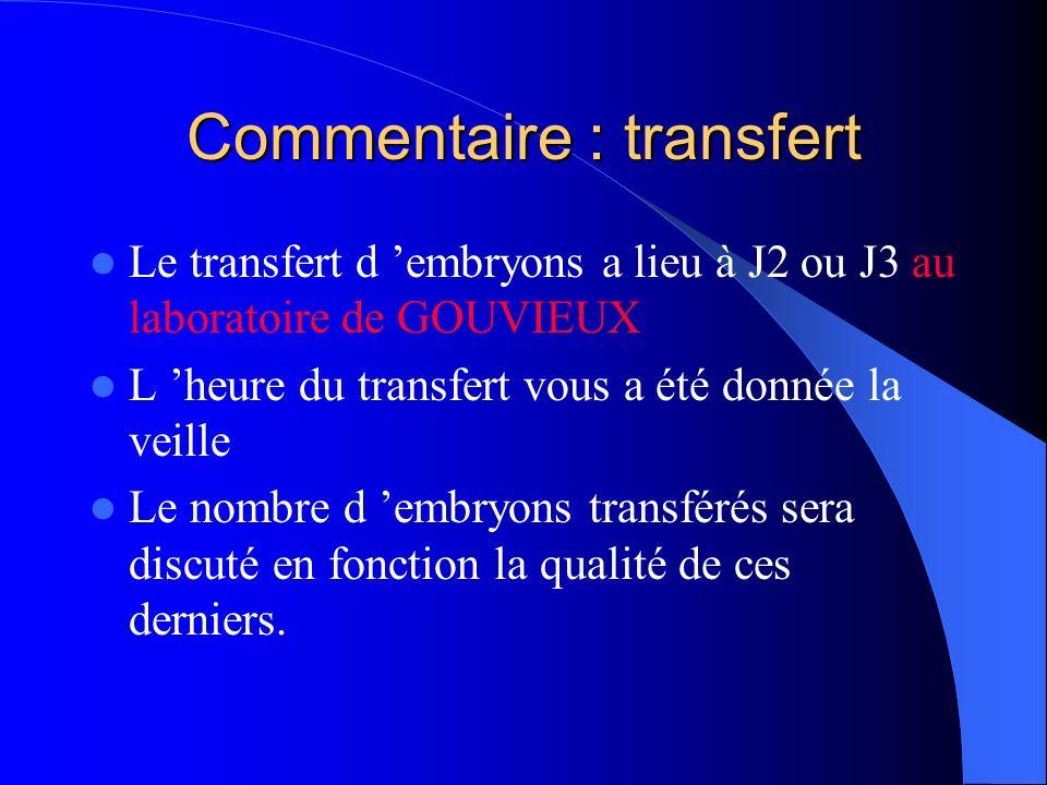 Commentaire : transfert Le transfert d embryons a lieu à J2 ou J3 au laboratoire de GOUVIEUX L heure du transfert vous a été donnée la veille Le nombre d embryons transférés sera discuté en fonction la qualité de ces derniers.