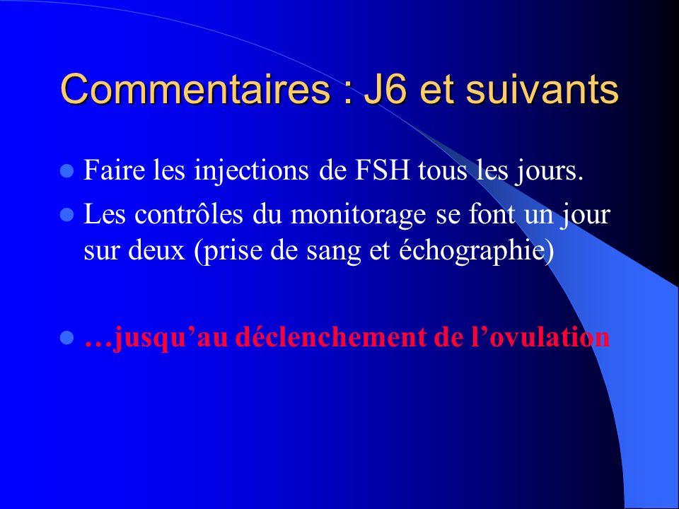 Commentaires : J6 et suivants Faire les injections de FSH tous les jours. Les contrôles du monitorage se font un jour sur deux (prise de sang et échog