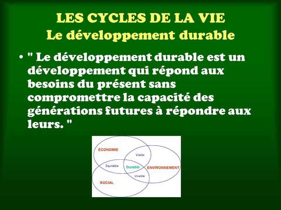 LES CYCLES DE LA VIE Le développement durable Le développement durable est un développement qui répond aux besoins du présent sans compromettre la capacité des générations futures à répondre aux leurs.