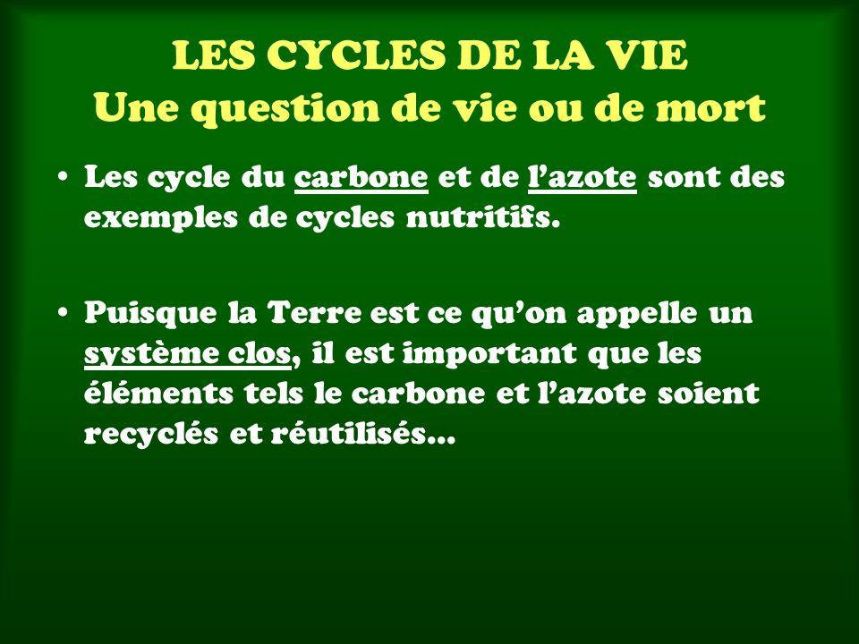 LES CYCLES DE LA VIE Une question de vie ou de mort Les cycle du carbone et de lazote sont des exemples de cycles nutritifs. Puisque la Terre est ce q