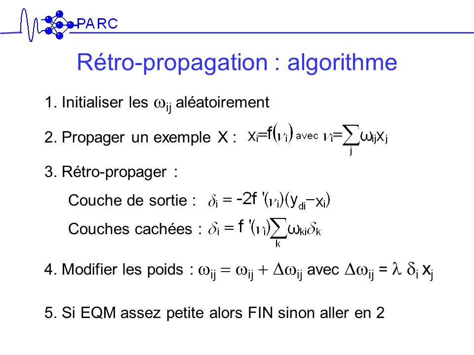 Rétro-propagation : algorithme 1. Initialiser les ij aléatoirement 2. Propager un exemple X : 3. Rétro-propager : Couche de sortie : Couches cachées :