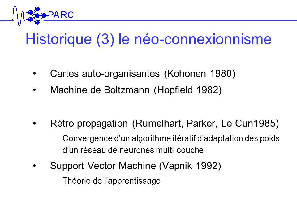 Historique (3) le néo-connexionnisme Cartes auto-organisantes (Kohonen 1980) Machine de Boltzmann (Hopfield 1982) Rétro propagation (Rumelhart, Parker