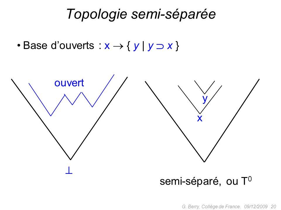 Base douverts : x { y | y x } 09/12/2009 20G.Berry, Collège de France.