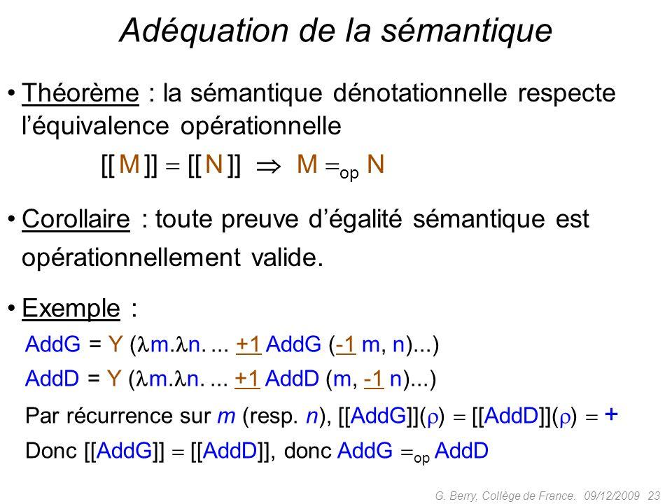 Théorème : la sémantique dénotationnelle respecte léquivalence opérationnelle [[ M ]] [[ N ]] M op N 09/12/2009 23G.