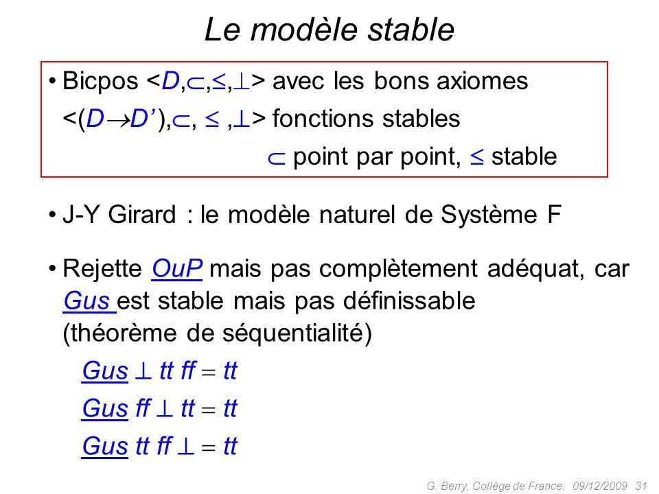 Bicpos avec les bons axiomes fonctions stables point par point, stable 09/12/2009 31G.