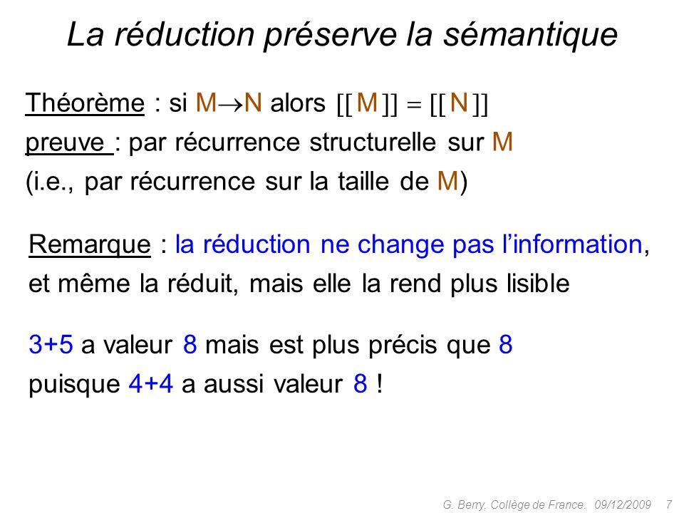 Théorème : si M N alors M N preuve : par récurrence structurelle sur M (i.e., par récurrence sur la taille de M) 09/12/2009 7G.