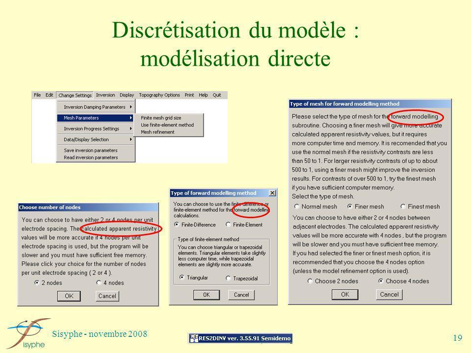 Sisyphe - novembre 2008 19 Discrétisation du modèle : modélisation directe