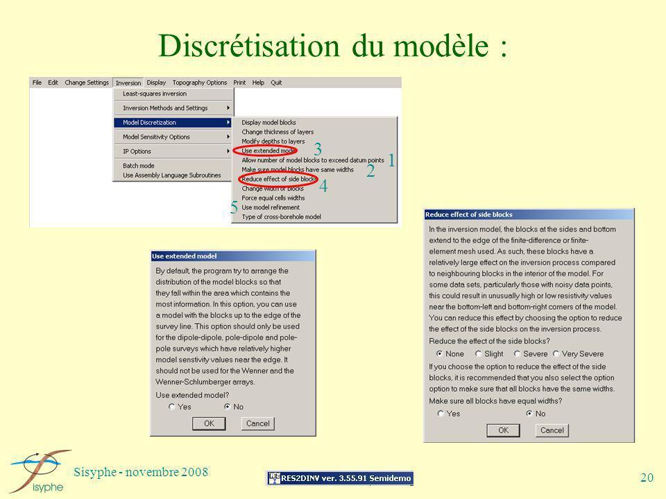 Sisyphe - novembre 2008 20 Discrétisation du modèle : 1 2 3 4 5