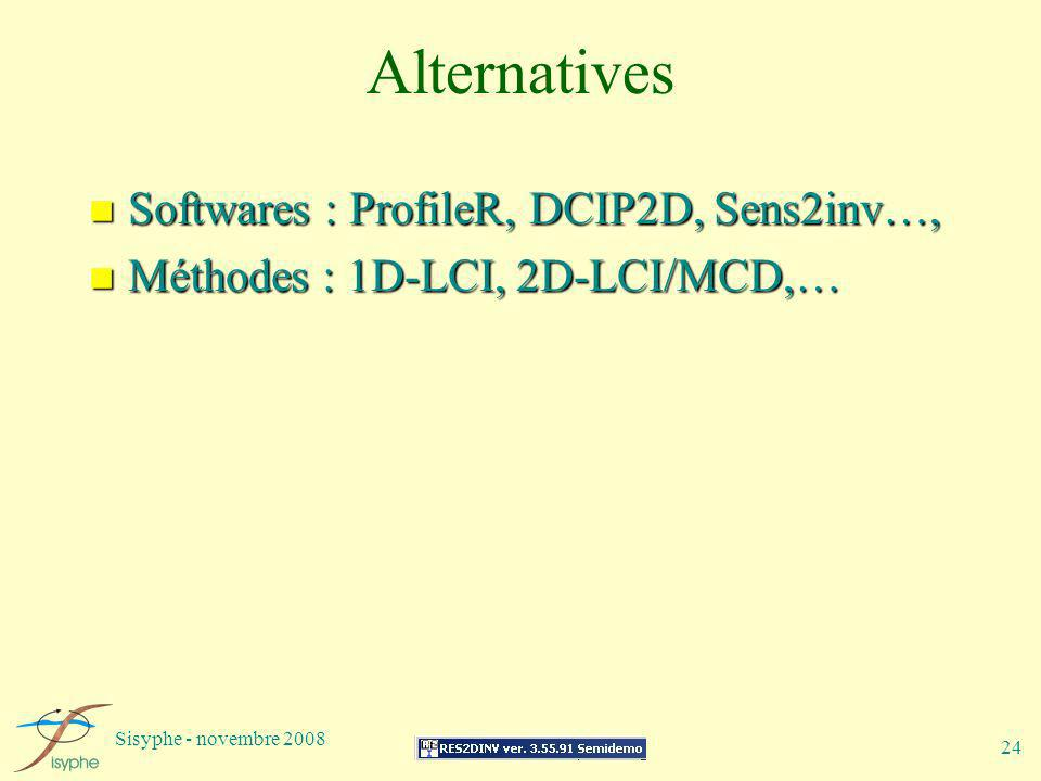 Sisyphe - novembre 2008 24 Alternatives n Softwares : ProfileR, DCIP2D, Sens2inv…, n Méthodes : 1D-LCI, 2D-LCI/MCD,…