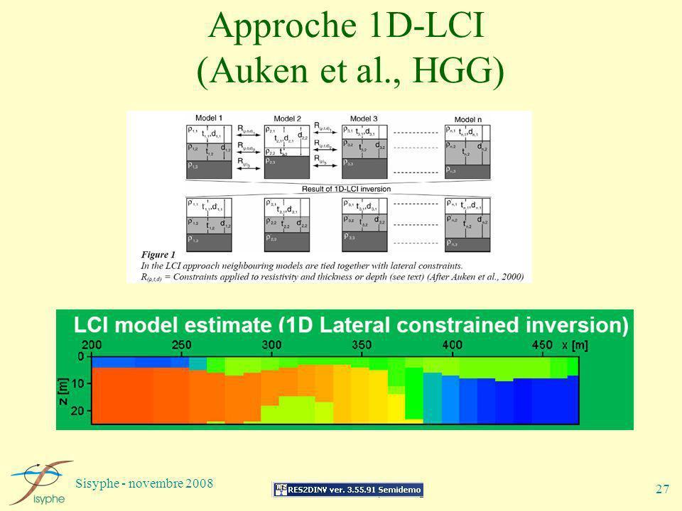 Sisyphe - novembre 2008 27 Approche 1D-LCI (Auken et al., HGG)