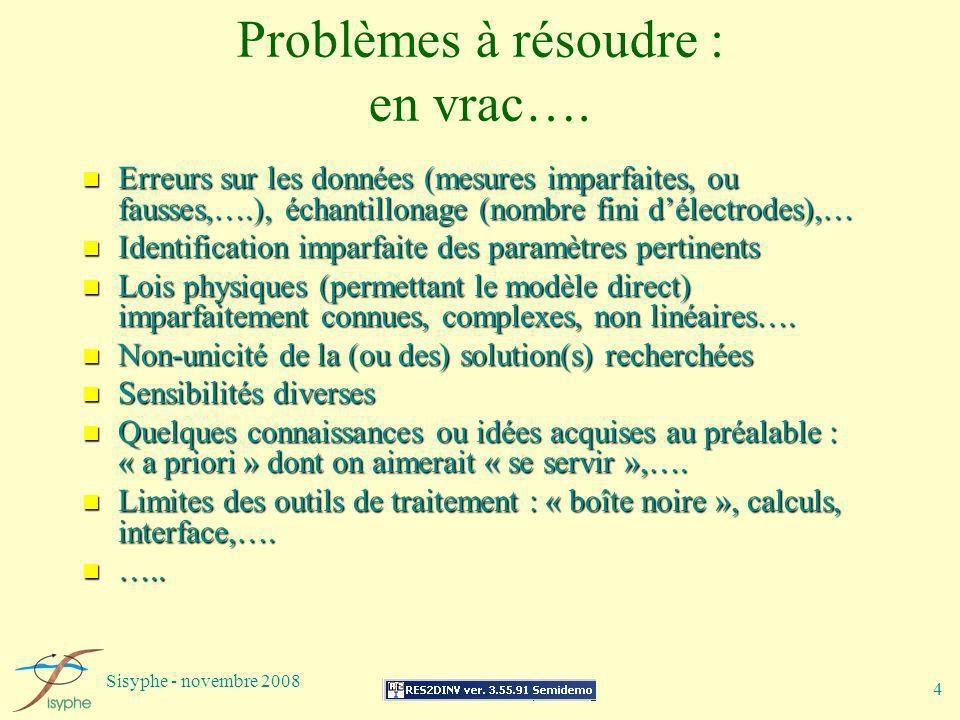 Sisyphe - novembre 2008 4 Problèmes à résoudre : en vrac…. n Erreurs sur les données (mesures imparfaites, ou fausses,….), échantillonage (nombre fini