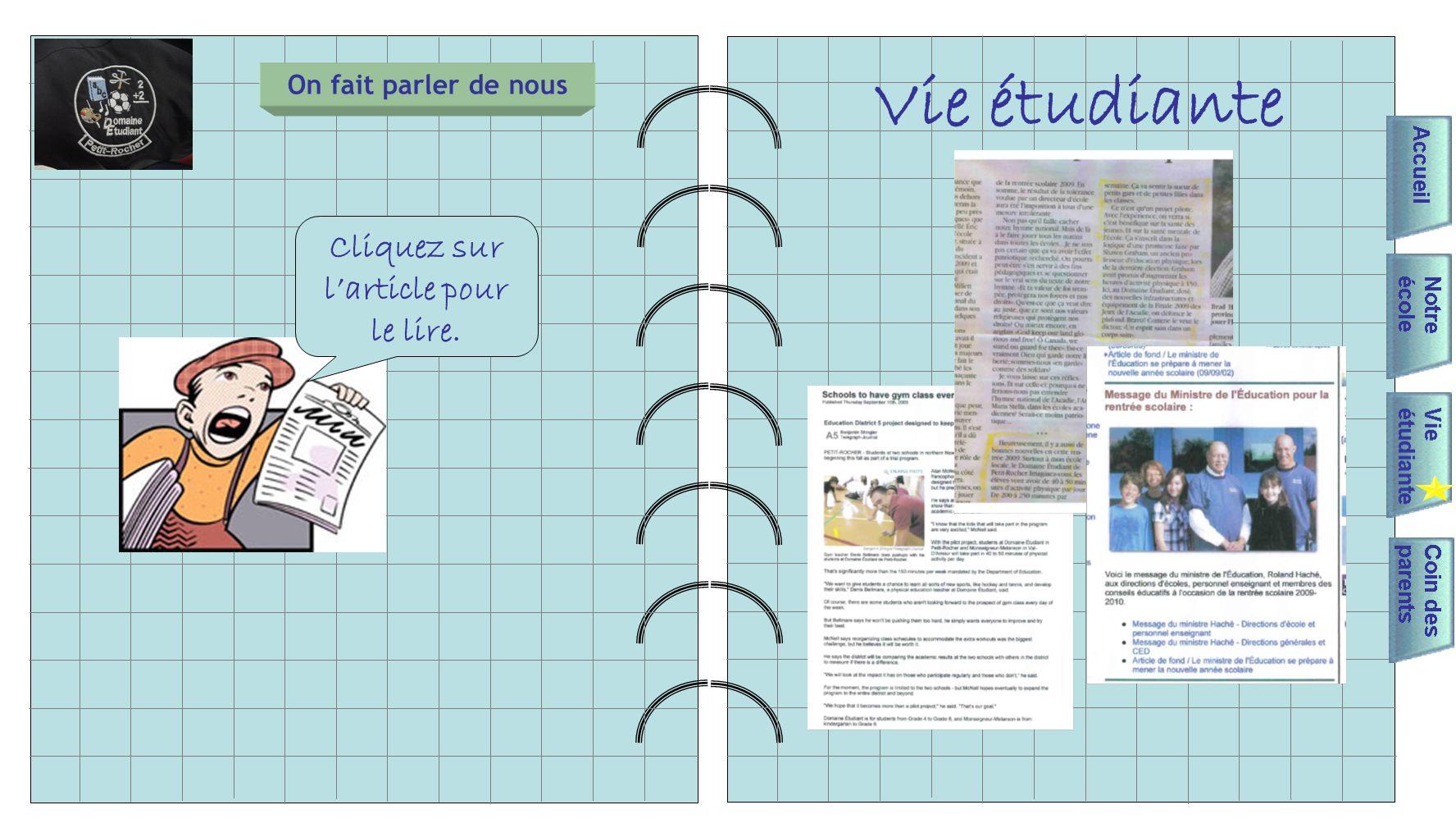 Vie étudiante On fait parler de nous Cliquez sur larticle pour le lire.