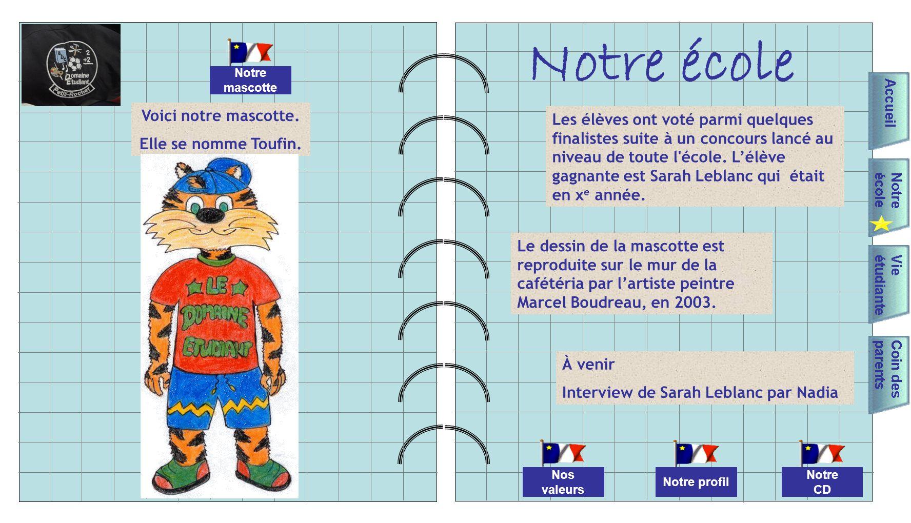 Notre école Nos valeurs Notre mascotte Notre CD Notre profil Voici notre mascotte.
