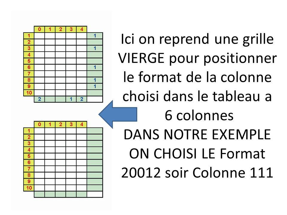 Ici on reprend une grille VIERGE pour positionner le format de la colonne choisi dans le tableau a 6 colonnes DANS NOTRE EXEMPLE ON CHOISI LE Format 20012 soir Colonne 111