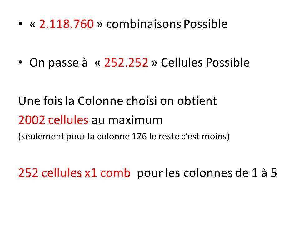 « 2.118.760 » combinaisons Possible On passe à « 252.252 » Cellules Possible Une fois la Colonne choisi on obtient 2002 cellules au maximum (seulement pour la colonne 126 le reste cest moins) 252 cellules x1 comb pour les colonnes de 1 à 5