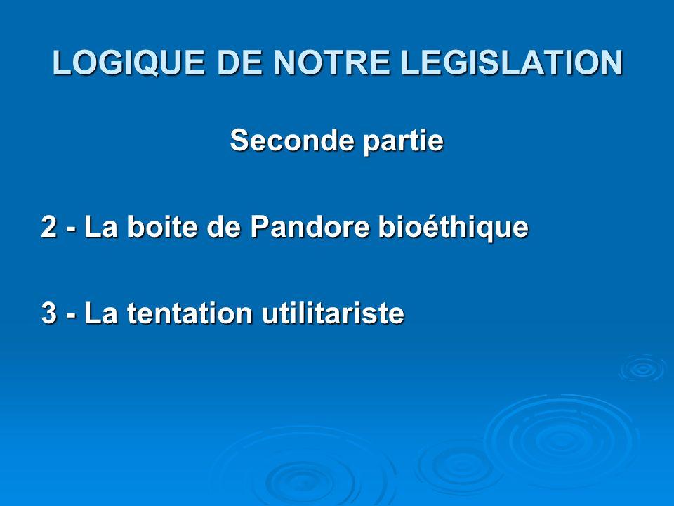 LOGIQUE DE NOTRE LEGISLATION Seconde partie 2 - La boite de Pandore bioéthique 3 - La tentation utilitariste