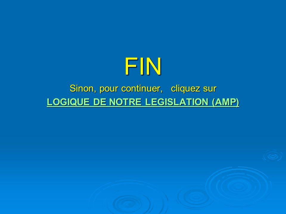 FIN Sinon, pour continuer, cliquez sur LOGIQUE DE NOTRE LEGISLATION (AMP) LOGIQUE DE NOTRE LEGISLATION (AMP)