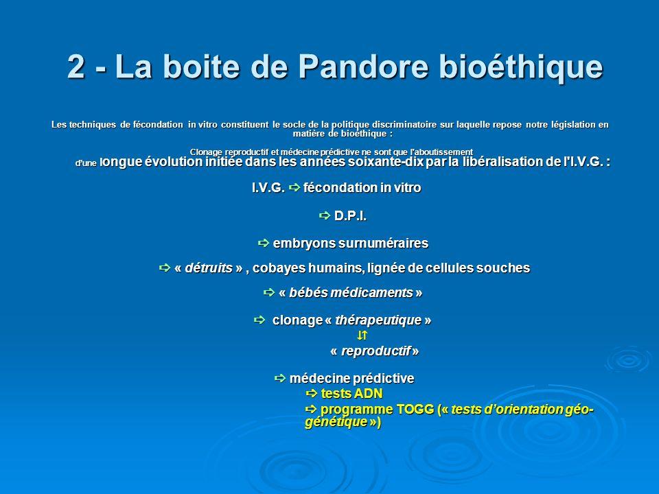 2 - La boite de Pandore bioéthique Les techniques de fécondation in vitro constituent le socle de la politique discriminatoire sur laquelle repose not