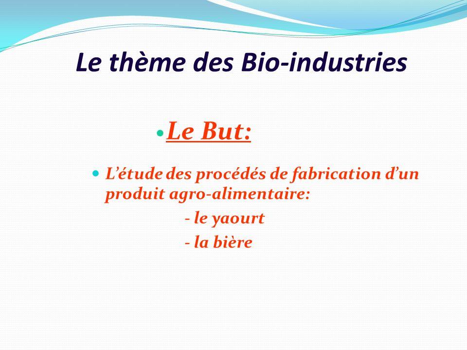 Le thème des Bio-industries Le But: Létude des procédés de fabrication dun produit agro-alimentaire: - le yaourt - la bière