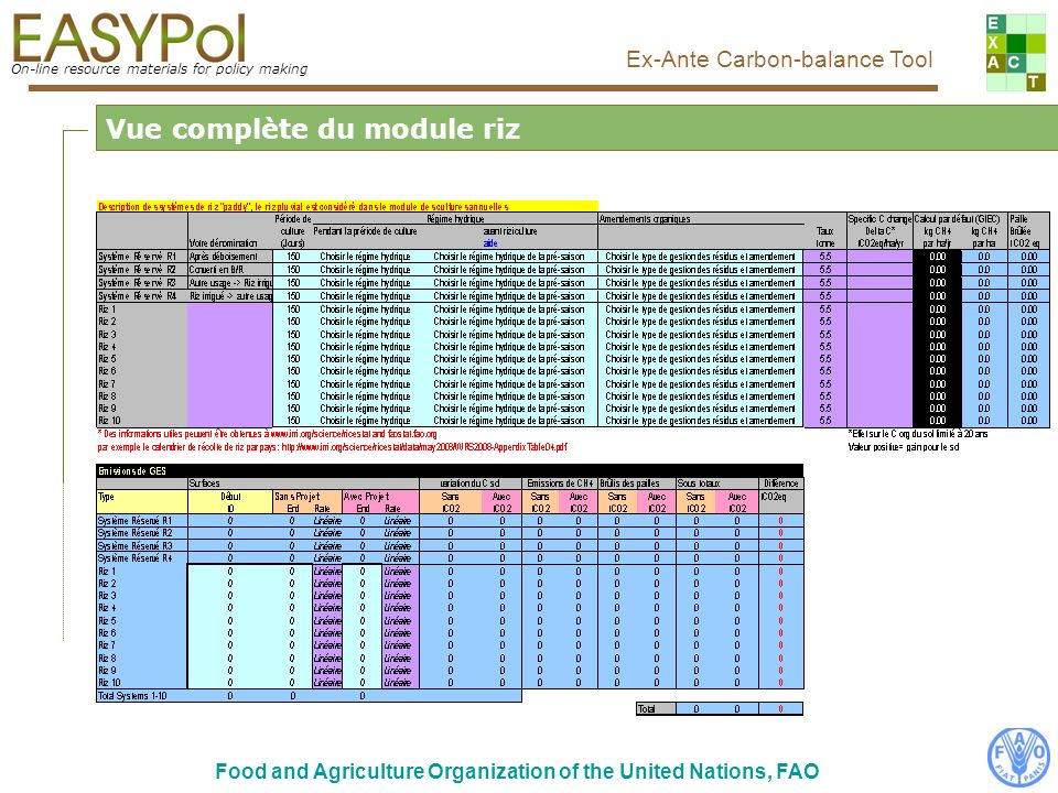 On-line resource materials for policy making Ex-Ante Carbon-balance Tool Food and Agriculture Organization of the United Nations, FAO Comment renseigner le module.