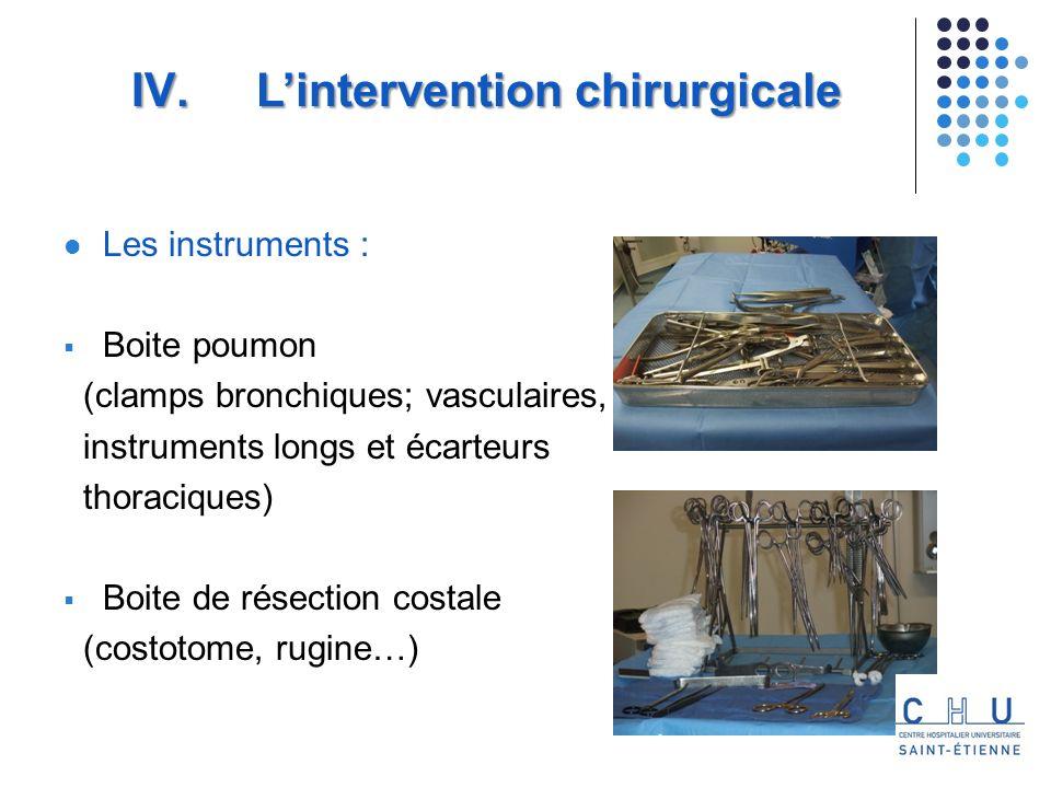 Les instruments : Boite poumon (clamps bronchiques; vasculaires, instruments longs et écarteurs thoraciques) Boite de résection costale (costotome, rugine…) IV.