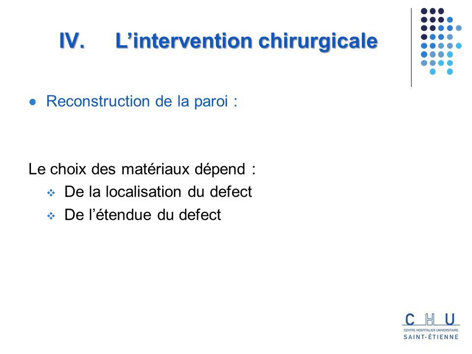 Reconstruction de la paroi : Le choix des matériaux dépend : De la localisation du defect De létendue du defect IV.