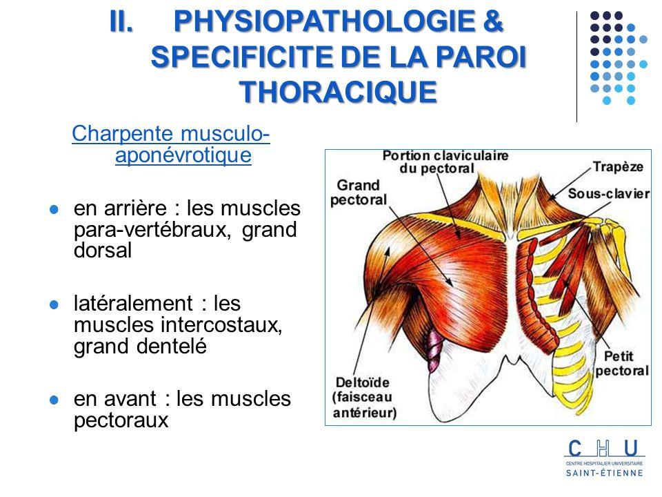 Charpente musculo- aponévrotique en arrière : les muscles para-vertébraux, grand dorsal latéralement : les muscles intercostaux, grand dentelé en avant : les muscles pectoraux II.PHYSIOPATHOLOGIE & SPECIFICITE DE LA PAROI THORACIQUE