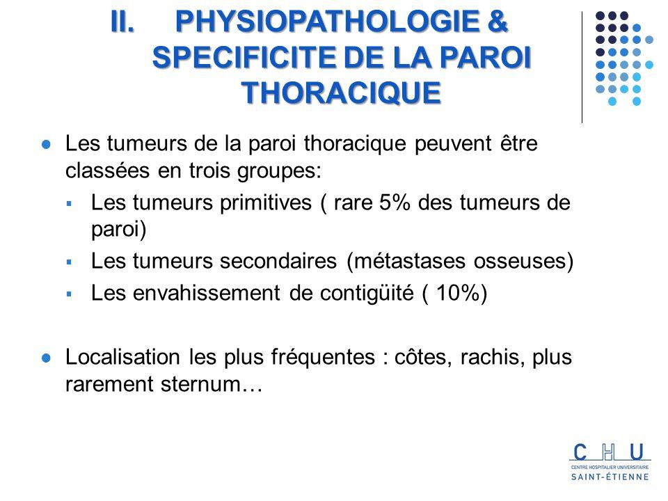 Les tumeurs de la paroi thoracique peuvent être classées en trois groupes: Les tumeurs primitives ( rare 5% des tumeurs de paroi) Les tumeurs secondaires (métastases osseuses) Les envahissement de contigüité ( 10%) Localisation les plus fréquentes : côtes, rachis, plus rarement sternum… II.PHYSIOPATHOLOGIE & SPECIFICITE DE LA PAROI THORACIQUE