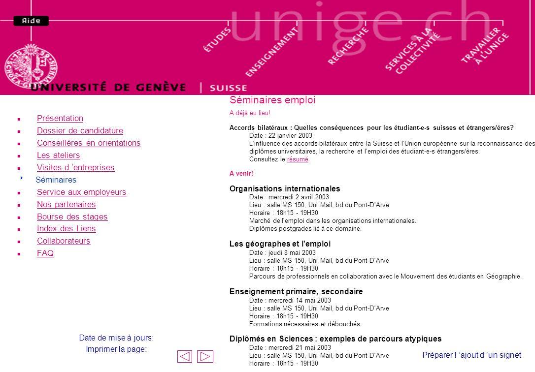 Conférences emploi Séminaires emploi A déjà eu lieu! Accords bilatéraux : Quelles conséquences pour les étudiant-e-s suisses et étrangers/ères? Date :