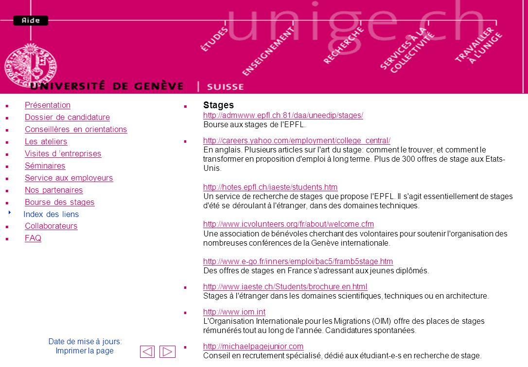 n Présentation Présentation n Dossier de candidature Dossier de candidature n Conseillères en orientations Conseillères en orientations n Les ateliers