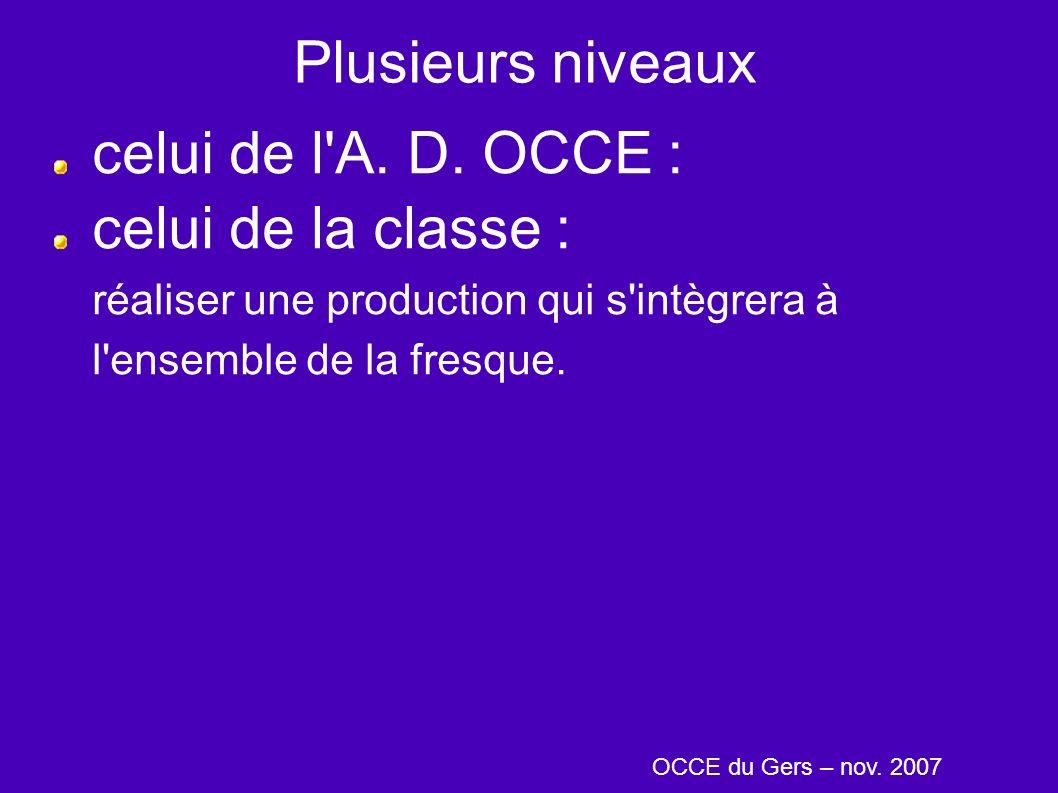 Plusieurs niveaux celui de l'A. D. OCCE : celui de la classe : réaliser une production qui s'intègrera à l'ensemble de la fresque. OCCE du Gers – nov.